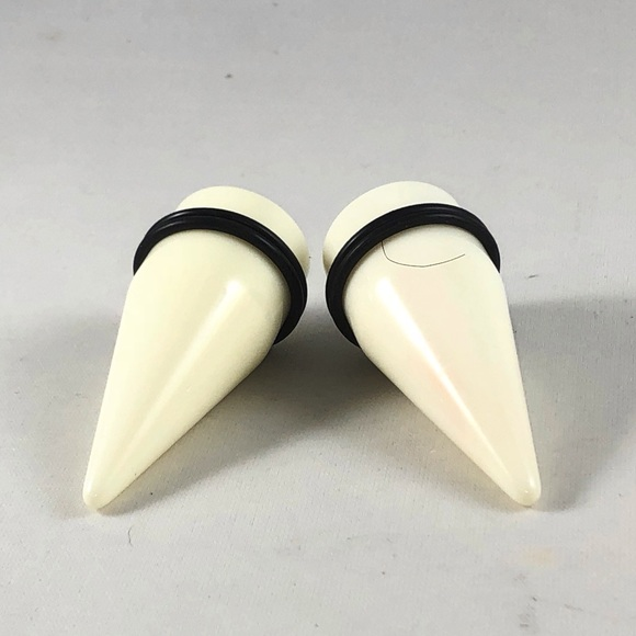 Pair Of White Acrylic Ear Tapers